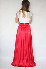 Šaty - Spoločenské šaty s tylovou krajkou a saténovou sukňou rôzne farby - 6198902_