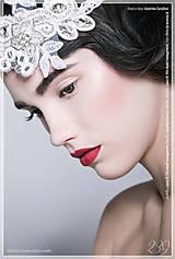 Ozdoby do vlasov - Ľadová princezná II. - svadobná čelenka s krajkou - 6199826_