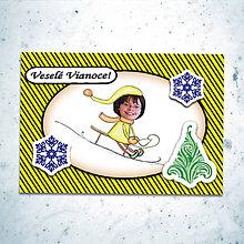 Papiernictvo - Vianočná pohľadnica s vlastnou fotkou pásiky (sánkovačka) - 6199929_