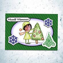 Papiernictvo - Vianočná pohľadnica s vlastnou fotkou pásiky (zdobenie stromčeka) - 6199930_