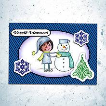 Papiernictvo - Vianočná pohľadnica s vlastnou fotkou pásiky (stavanie snehuliaka) - 6200039_