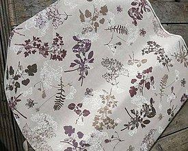 Textil - Kvety fialové,hnedé na režnom podklade š. 140cm poťahovka - 6200830_