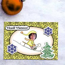 Papiernictvo - Vianočná pohľadnica s vlastnou fotkou hviezdičky (sánkovačka) - 6200433_