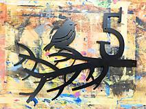 Tabuľky - Číslo na dom / vtáčik na konáriku (3-4 číslice) - 6204813_