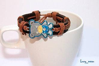 Náramky - Náramok kožený s modrým mackom :) - 6204594_