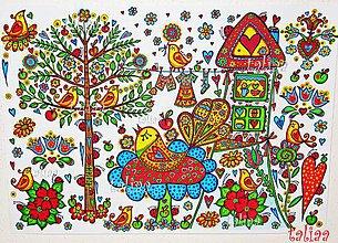 Kresby - VTÁČIKY - maľovaný obrázok 42 x 30 cm - 6203415_