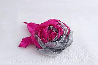 Ozdoby do vlasov - Cyklamenovo-šedý kvet - 6205004_