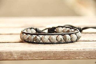 Šperky - Pánsky kožený náramok jaspis - 6204939_