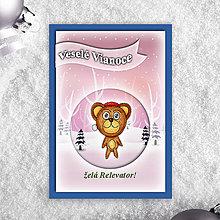 Papiernictvo - Zvieratká v snehu - vianočné pohľadnice - 6206051_