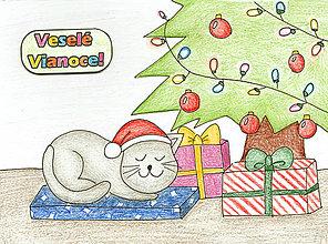Kresby - Vianočné Chibi - mačacie Vianoce - 6208118_