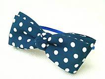 Ozdoby do vlasov - Pin Up headband (navy blue with white polka dots) - 6211112_