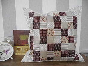 Úžitkový textil - Prehoz, vankúš patchwork vzor béžovo - hnedý, vintage vankúš rôzne varianty - 6211576_