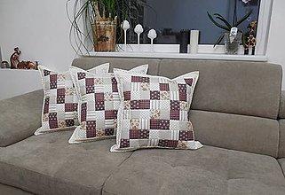 Úžitkový textil - Prehoz, vankúš patchwork vzor béžovo - hnedý, vintage vankúš rôzne varianty - 6211664_