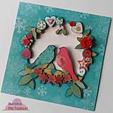 Papiernictvo - Pohľadnica s kvetinami, gombíkami, s vtáctvom - 6213280_
