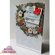 Papiernictvo - Pohľadnica A5 s venčekom, perníčkom, mašličkou a želaním - 6212835_