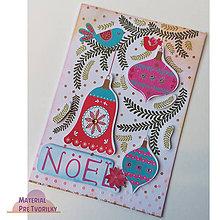 Papiernictvo - Pohľadnica A6 s ozdobami, vtáctvom a kamienkami - 6212903_