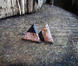Náušnice - Trojuholníky 20 mm MINIMAL (bronz) - 6212980_