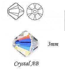 Korálky - SWAROVSKI® ELEMENTS 5328 Xilion Bead - Crystal AB, 3mm, bal.15ks - 6213953_
