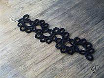Náramky - čierny frivolitkový - 6214182_