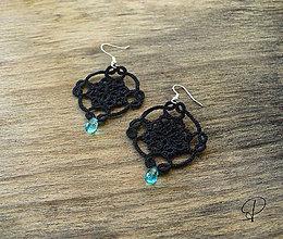 Náušnice - kruhové čierne s modrými korálikmi - 6214146_