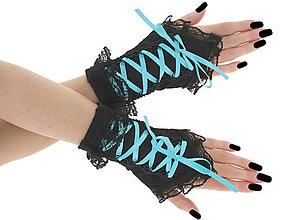 Rukavice - Bezprsté čierno tyrkysové gothic rukavičky 03T - 6215975_