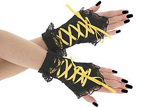 Rukavice - Bezprsté čierno žlté gothic rukavičky 08T - 6216039_