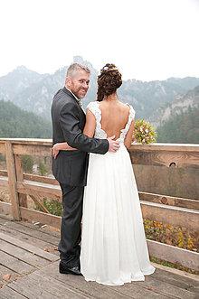 Šaty - svadobné šatky a sako  ,pre sl.L - 6215794_
