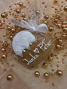 Darčeky pre svadobčanov - Svadobné medovníkové srdiečko I. - 6217584_