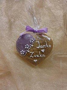 Darčeky pre svadobčanov - Svadobné medovníkové srdiečko II. - 6217642_