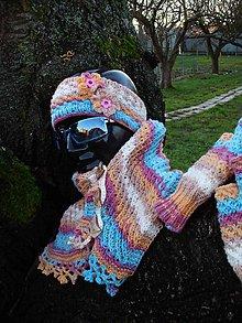 Čiapky - Hriatô - pri srdiečku, i inde..., súprava šál, čelenka, rukavice - 6217012_