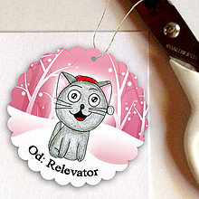 Papiernictvo - Mačka v snehu - menovka na darček - 6219316_