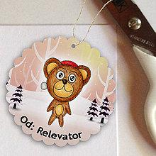 Papiernictvo - Medvedík v snehu - menovka na darček - 6219352_