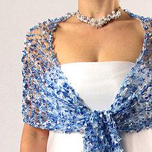 Šály - Něco modrého... svatební krajkový šál - 6221087_