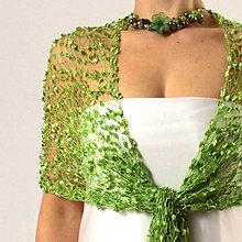Šály - Amazonka | zelený čipkovaný šál / pléd - 6221125_