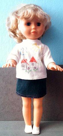 Bábiky - Nela a jej riflová suknička a tričko - 6221150_