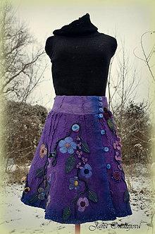 Sukne - Plstená hodvábno-vlnená sukňa SLIVKOVÁ - 6222234_