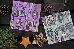 Pomôcky - Podšálky - podložky pod pohár - fialovy podklad - 6224190_