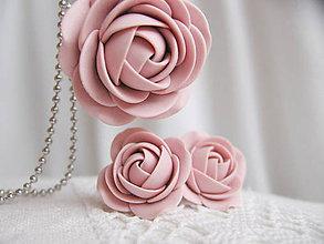Sady šperkov - Old rose, sada náušnice a náhrdelník - 6224327_