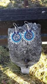 Náušnice - Blue snowflakes - 6225835_