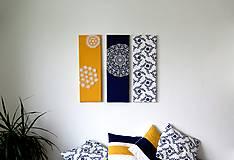 Obrázky - folk trio - textilné obrázky - modrotlač - 6225066_