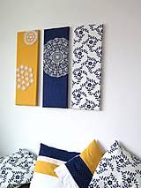 Obrázky - folk trio - textilné obrázky - modrotlač - 6225067_