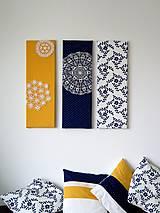 Obrázky - folk trio - textilné obrázky - modrotlač - 6225068_