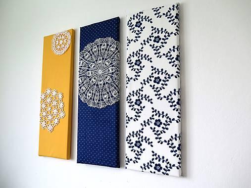 folk trio - textilné obrázky - modrotlač