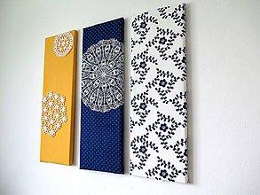 Obrázky - folk trio - textilné obrázky - modrotlač - 6225065_