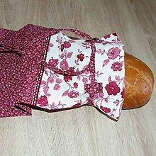 Úžitkový textil - Obal na chlieb - vínovo biele kvety - 6224659_
