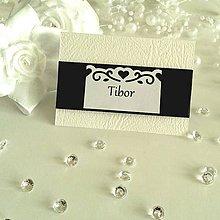 Papiernictvo - Čierno-biele menovky na stôl - 6230290_
