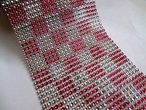 Galantéria - Kamienková stuha - ružovo strieborné káro - cena za 10 cm - 6230163_