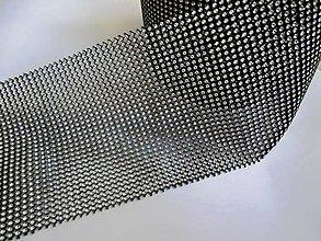Galantéria - Kamienková stuha strieborno čierná - cena za 10 cm - 6230197_