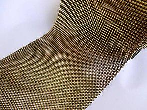 Galantéria - Kamienková stuha zlato čierna - cena za 10 cm - 6230209_