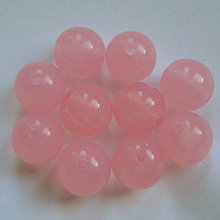 Korálky - MILK plast 11mm-ružová-1ks - 6230356_